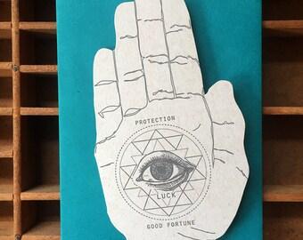 letterpress luck hand shaped card