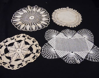Set of 4 Vintage Hand Crochet Ecru/Off White Doilies (Doily)
