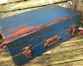 Vintage Antique Old Blue Painted Wood Tool Box Suitcase Style Wooden Box