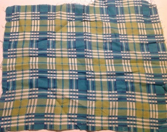 Vintage Green, Blue and White Plaid Feedsack/Flour Sack (No Longer a Sack)