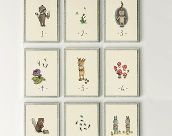 Counting flash cards  - Alphabet Nursery Art, ABC Flash Cards, Kids Wall Art, Number Animal, Wall Art,  SET 9 Prints