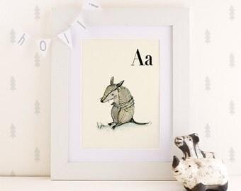 A for Armadillo  -4x6- Alphabet art - Alphabet print - wall art - ABC print - Nursery art - Nursery decor - Kids room decor - Children's art