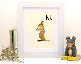 K for Kangaroo - 4x6 - Alphabet art - Alphabet print - ABC wall art - ABC print - Nursery art - Nursery decor - Kids room decor