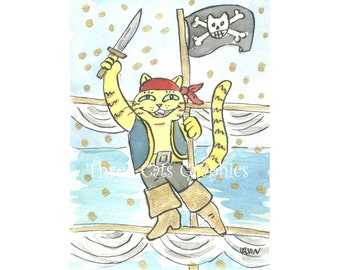 Jolly Good Fortune on the High Seas - Choose from ACEO Print, Note Cards, or Art Print