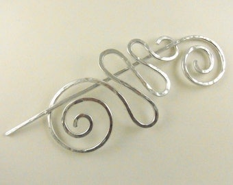 Minimalist Silver Hair Slide Abstract O'Keefe Spiral & Squiggle Together