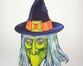 Vintage 1970s Cardboard Ugly Witch Halloween Die Cut Decoration by Beistle