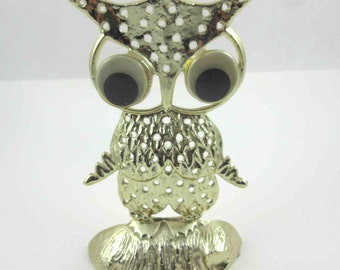 Vintage Gold Tone Owl with Googly Eyes Pierced Earring Holder