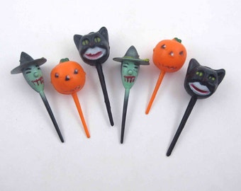 Vintage Black Cat Witch and Jack O Lantern Halloween Novelty Cupcake Picks or Toppers Set of 6