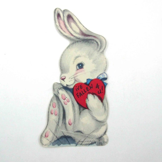 This Is The Cutest Vintage Valentine Greeting Card With An Adorable Rabbit  Wearing A Big Blue Bow!