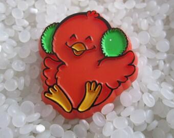Vintage Hallmark Christmas pin, red bird in a EAR MUFFS,  hallmark 1981 christmas red cardinal brooch pin