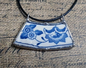 Broken Plate Pendant, Soldered China Dish, Broken Dish Jewelry, Vintage Blue Onion Plate, Artisan Made Necklace