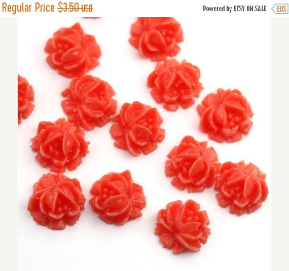 50% Off Sale Vintage Style Coral Rose Cabochons 6.5mm Tiny (8) PC034