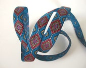3 yards HOPI Jacquard trim in red, tan, white on turquoise. 5/8 inch wide. 2025-A