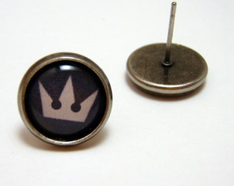 Kingdom Hearts Studs - White crown symbol on black background post earrings SMALL - Geekery Geek Chic Gamer