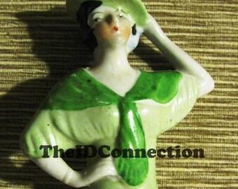 ON SALE Irish Lass Beautiful Girl 1920's Vintage Porcelain Green,  Doll Part retro 20's Art Deco St Patrick's Day nostalgia antique