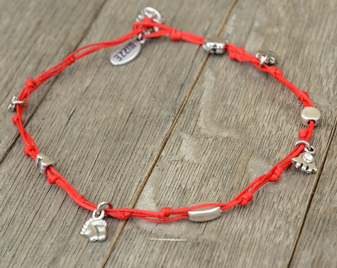 Red Hamsa and Multiple Silver Plated Charms Anklet
