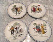 HBCM French Pottery Faience Decorative Bicycle Theme Plates