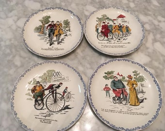 Set of 4 HBCM French Pottery Faience Decorative Bicycle Theme Plates