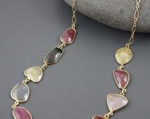 15%SALE Multicolor Sapphire Necklace, Bezeled Stone Necklace, Pink Sapphire Necklace, Gold Filled Necklace.