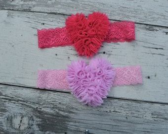 You Pick Color, Fuchsia Hot Pale Pink Lace Headband, Toddler Lace headband, Girls headband Heart Valentines Day