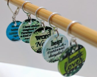 For the Love of Books (and Yarn) - Set of 5 Stitchmarkers for Knitters and Crocheters