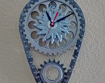 Chevy Auto Engine Timing Set and Alternator Fan Wall Clock Garage Decor Man Cave Art