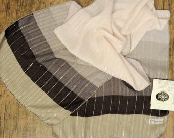 Vintage Francoise Guerin Paris silk chiffon 58 by 14 oblong scarf, Hand rolled edges Neutral cream/taupe Metallic thread, Bonus brooch