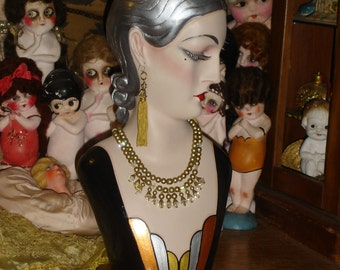 Art Deco Mannequin Head Hat Jewelry Display Silver