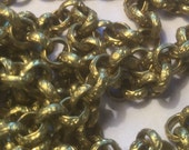 Vintage Brass Engraved Rolo Chain (1 yard)(5.5mm links) Better in Person