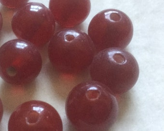 Vintage Glass Beads (6)(12mm) Handmade Japanese Cranberry Red Beads