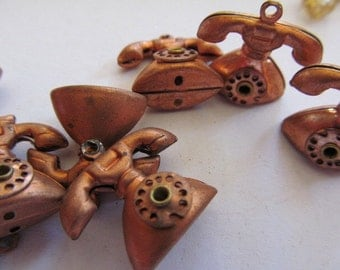 Vintage Brass Telephone Charms (4)
