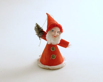 Vintage Santa Gnome Bottle Brush Tree Christmas Ornament