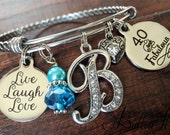 Best FRIEND Gift, 40th birthday, 40 and Fabulous, bangle bracelet Alex & Ani inspired, Friends are family we choose Live Laugh Love, Initial