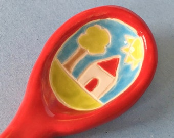 Ceramic Spoon Sugar Spoon Pottery Spoon Art Spoon Little Red Door