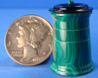 "1:12 - 1"" Scale Malachite TruStone & Bakelite Canister - Dollhouse Miniature IGMA Fellow Bill Helmer"
