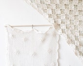 Tatted Lace Textile - crocheted curtain panel