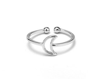 nickel free Crescent Moon adjustable ring blanks finding (JZ-034)