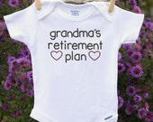 Grandma's Retirement Plan Pregnancy Reveal to Grandparents Pregnancy Announcement Baby Reveal Baby Clothes Gift Baby Shower Clothes Line