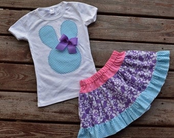 CLEaRANCE * SaMPLE SaLE* REaDY 2 ShIP* Girls Spring / Easter bunny applique  tee and skirt  size 7/8 aqua blue / purple