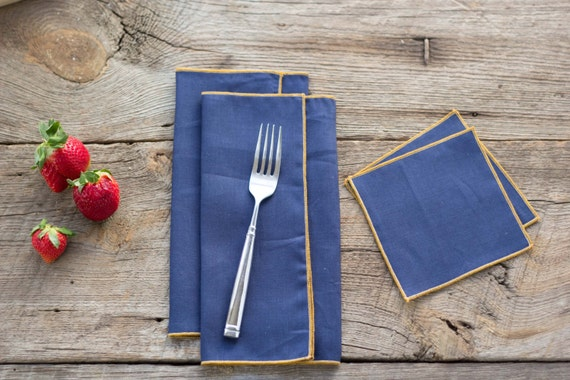 Navy Blue Linen with Yellow Edge, Cloth Napkins and Coasters, 100% linen