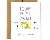 Funny Birthday Card - Attention