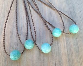 amazonite handspun rope necklace / waterproof / kid-proof / life-proof / island jewelry / minimalist beauty / tula blue