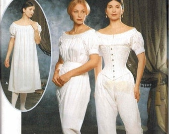 Simplicity 9769 Civil War Era Corset and Chemise Pattern Sizes 6-8-10-12 Bloomers