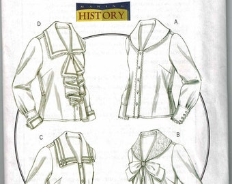 Early 1900s blouses tops Sewing Pattern Butterick 4826 Sizes 6-8-10-12 Uncut making history OOP