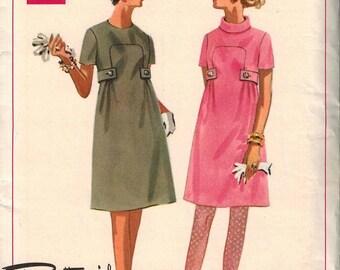1960s Butterick 4872 Gorgeous Mod Dress Sewing Pattern Vintage Size 12 Boutique Uncut Unique