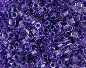 Sparkle Purple Lined Crystal Miyuki Hex Cut Seed Bead 11/0 7.2gm Tube DBC0906-TB