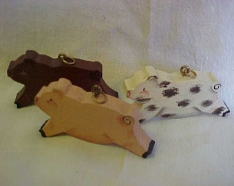 The THREE LITTLE PIGS~Necklace Charms~Wooden Charms~Hand Painted Charms~Hand Made~1 Cried Wee Wee Wee All The Way Home~Poor Critter!