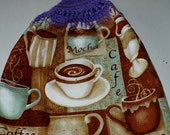 Coffee Lover Kitchen Towel with Crocheted Top