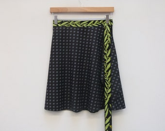 M/L Black Calico Skirt with Green Vine Sash, A Line Skirt, Wrap Skirt, Short Wrap Skirt, One Size Fits Most
