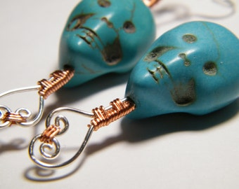 Clearance // Carved dyed Magnesite skulls, earrings